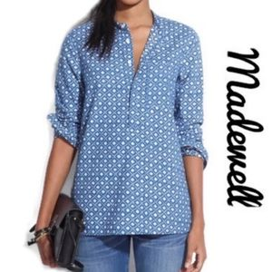 Madewell Blue Chambray Floral Stamp Shirt Size M